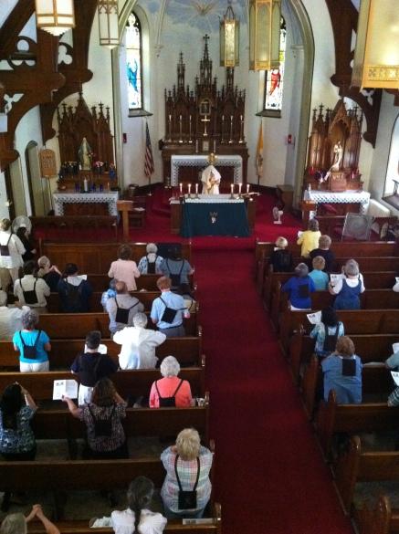 Secular Discalced Carmelites in prayer at an annual retreat.